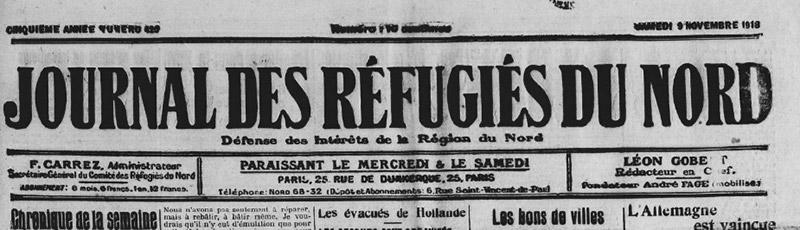 Journal des réfugiés du Nord 9 novembre 1918