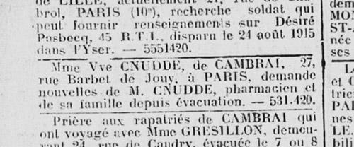 Article du journal des réfugiés du Nord 9 novembre 1918