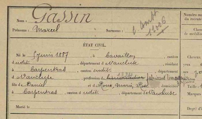Etat civil Marcel Gassin