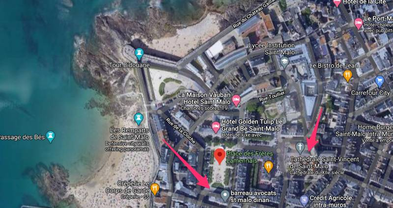 Carte du centre ville de Saint-Malo, place des frères Lamennais