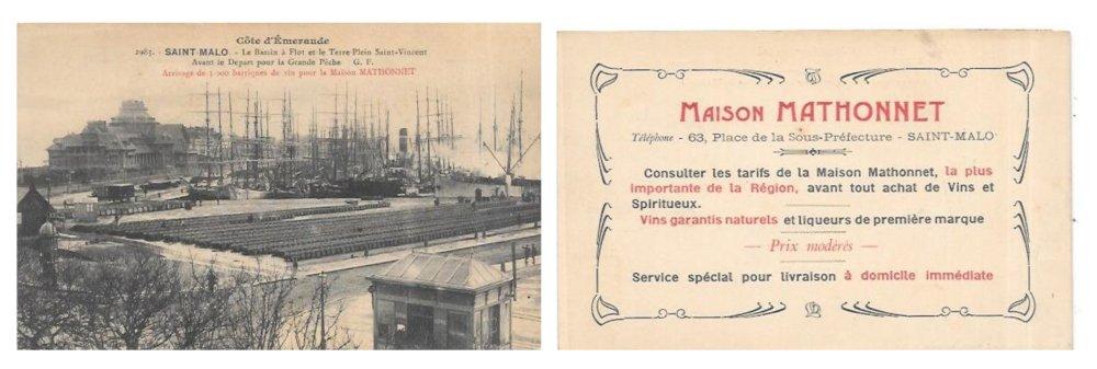 Carte publicitaire de la maison Mathonnet